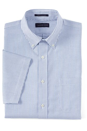 Men S Short Sleeve Supima No Iron Oxford Dress Shirt From Lands End