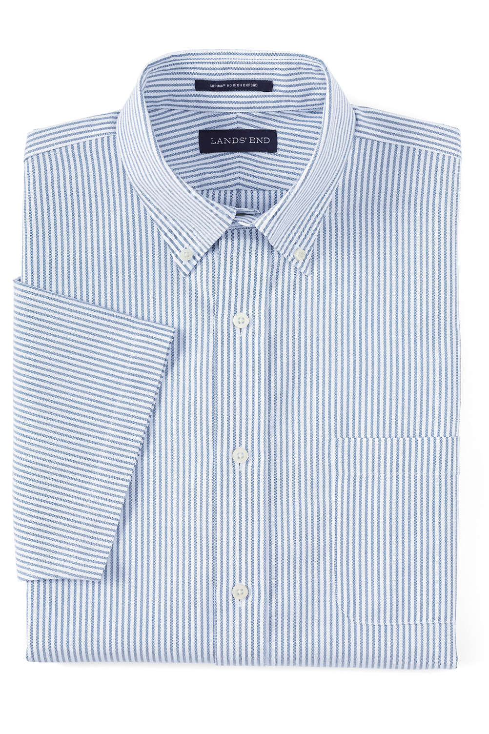 Mens Short Sleeve Supima No Iron Oxford Dress Shirt From Lands End