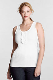 Women's Plus Size 1X1 Rib Ruffle Tank Top