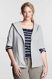 Women's Starfish Elbow Sleeve Lightweight Hooded Cardigan