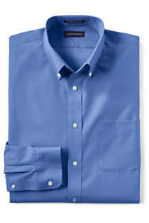 Men's Big Long Sleeve Buttondown No Iron Broadcloth Shirt, Front