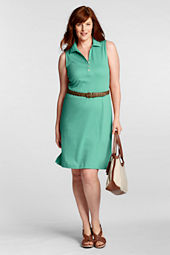 Women's Plus Size Sleeveless Solid Pima Polo Dress