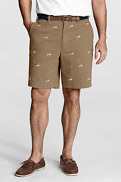 "Men's 9"" Plain Front Embroidered Spring Chino Shorts"