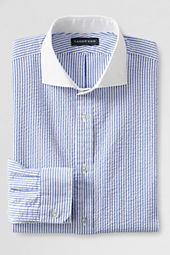 Men's Tailored Fit Cutaway Collar Seersucker Dress Shirt