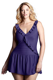 Women's Plus Size Slender Cascade Swimdress