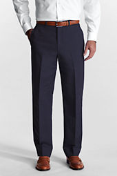 Men's Plain Front Traditional Fit Linen Cotton Trousers