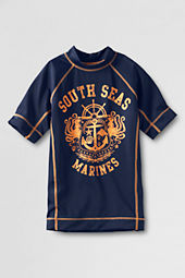 Toddler Boys' Short Sleeve Summer South Seas Marines Graphic Rash Guard