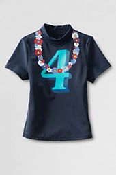 Girls' Short Sleeve Mockneck Floral Lei Graphic Rash Guard