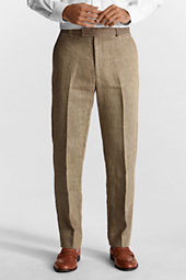 Men's Plain Front Traditional Fit Pattern Linen Trousers