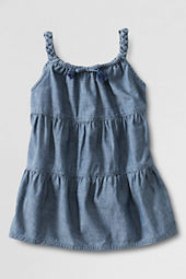 Little Girls' Braided Strap Tiered Woven Tank Top