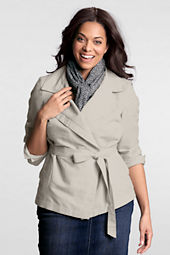 Women's Plus Size Linen Tie Waist Jacket