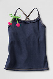 Girls' Denim Ruffle Front Tankini Top