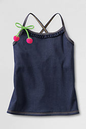 Little Girls' Ruffle Front Knit Denim Tankini Top