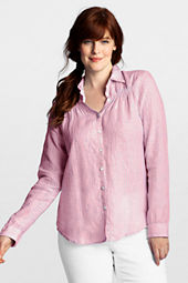 Women's Long Sleeve Linen Stripe Smocked Shirt