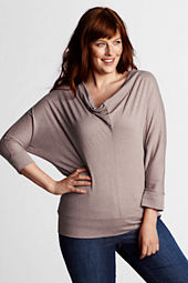 Women's Plus Size Dolman Sleeve Drapeneck Top