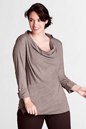 Women's Plus Size Elbow Sleeve Drapey Collared Drop Neck Tunic