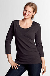 Women's Plus Size 3/4-sleeve Drapey Crossover Tunic