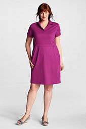 Women's Plus Size Short Sleeve Pima Johnny Collar Dress
