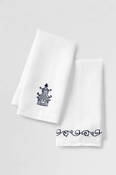Embroidered Pagoda Linen Guest Towels (Set of 2)