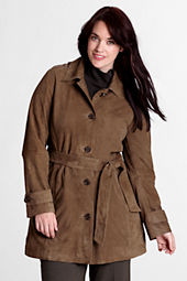 Women's Plus Size Suede Trench Coat