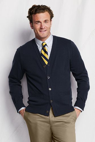 Cashmere V-neck Cardigan Sweater 421218: Classic Navy