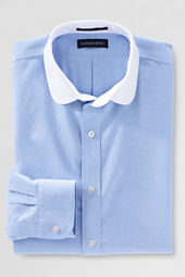 Men's Tailored Fit Solid No Iron Oxford Club Collar Shirt