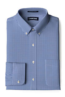 Men's Big & Tall Traditional Fit Pattern No Iron Supima Pinpoint Buttondown Collar Dress Shirt, Front