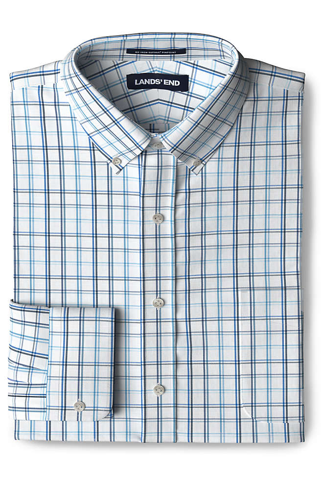 Men's Tailored Fit Pattern No Iron Supima Pinpoint Buttondown Collar Dress Shirt, Front