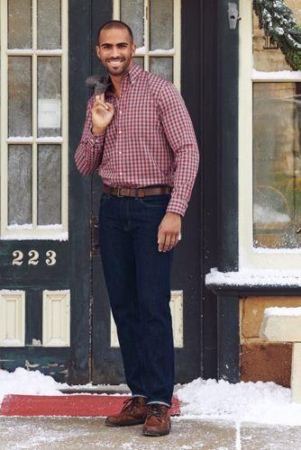Men's Traditional Fit Pattern No Iron Supima Pinpoint Buttondown Collar Dress Shirt