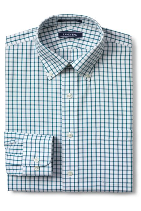Men's Tailored Fit Pattern No Iron Supima Pinpoint Buttondown Collar Dress Shirt