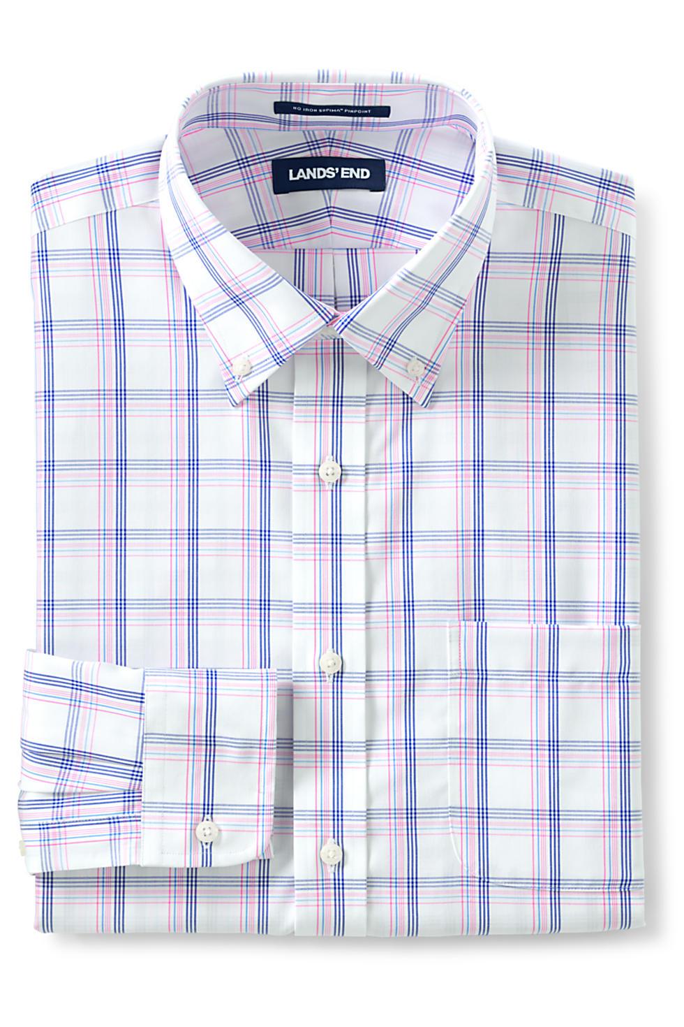 Lands' End Men's Traditional Fit Button-Down Collar Dress Shirt