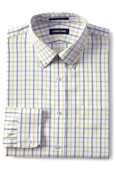 Men's Big & Tall Traditional Fit Pattern No Iron Supima Pinpoint Buttondown Collar Dress Shirt