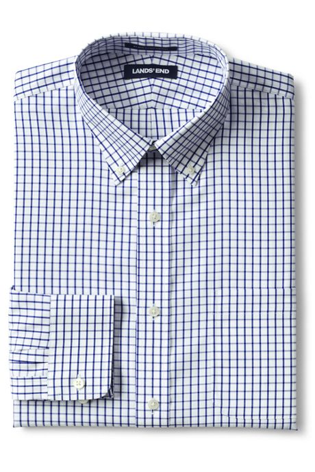 Men's Tall Traditional Fit Pattern No Iron Supima Pinpoint Buttondown Collar Dress Shirt