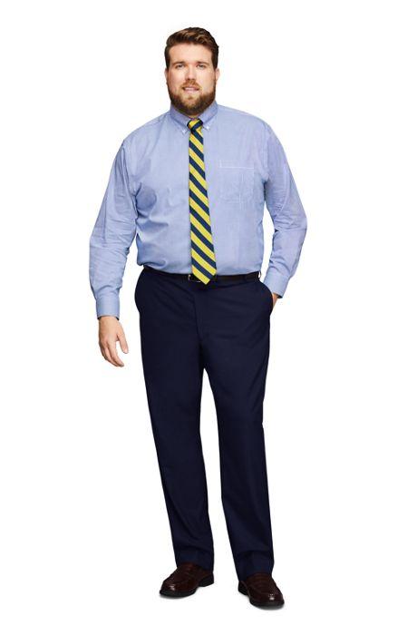 Men's Big & Tall Traditional Fit Pattern No Iron Supima Pinpoint Buttondown Collar Dress Shirt