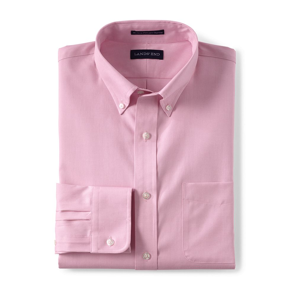 Lands' End Men's Tailored Fit Solid No Iron Supima Pinpoint Buttondown Dress Shirt at Sears.com