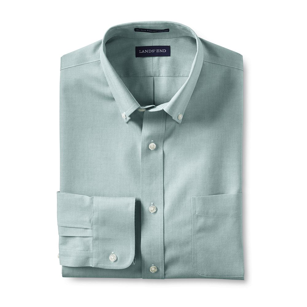 Lands' End Men's Big & Tall Tailored Fit Solid No Iron Supima Pinpoint Buttondown Dress Shirt at Sears.com