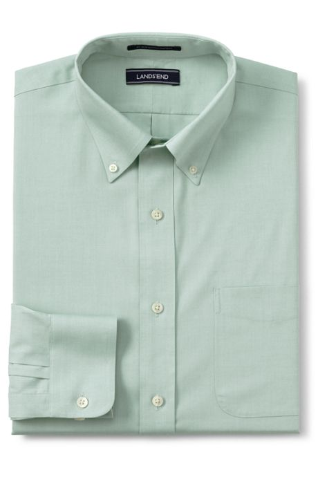 Men's Traditional Fit Solid No Iron Supima Pinpoint Buttondown Collar Dress Shirt
