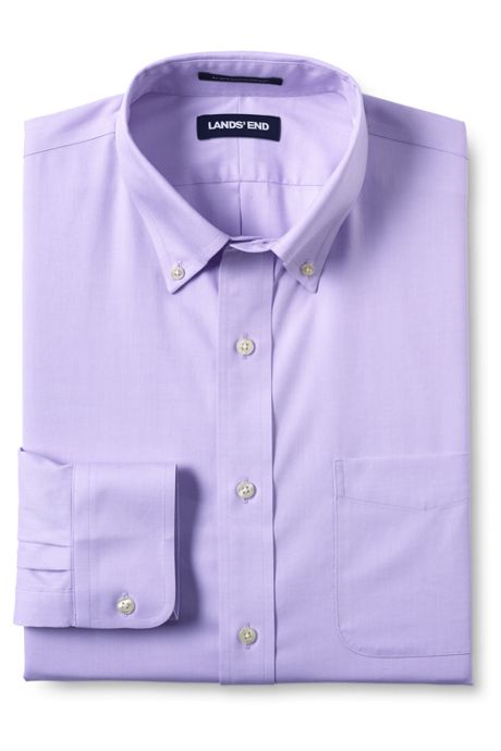 Men's Big & Tall Traditional Fit Solid No Iron Supima Pinpoint Buttondown Collar Dress Shirt