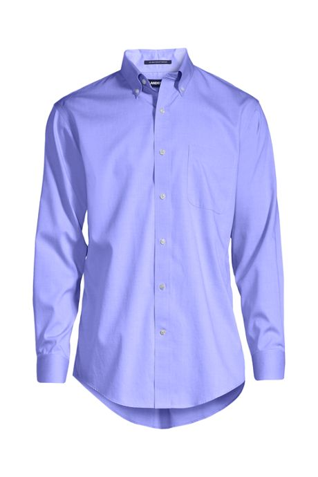School Uniform Men's Slim Fit Solid No Iron Supima Pinpoint Buttondown Collar Dress Shirt