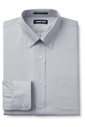 Men's Tall Traditional Fit Solid No Iron Supima Pinpoint Buttondown Collar Dress Shirt