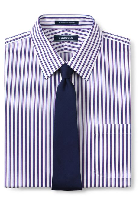 Men's Tailored Fit Pattern No Iron Supima Pinpoint Straight Collar Dress Shirt