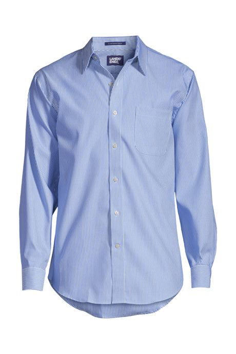 Men's Tall Traditional Fit Pattern No Iron Supima Pinpoint Straight Collar Dress Shirt