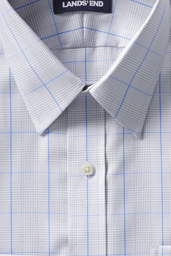 Men's Tall Tailored Fit Pattern No Iron Supima Pinpoint Straight Collar Dress Shirt