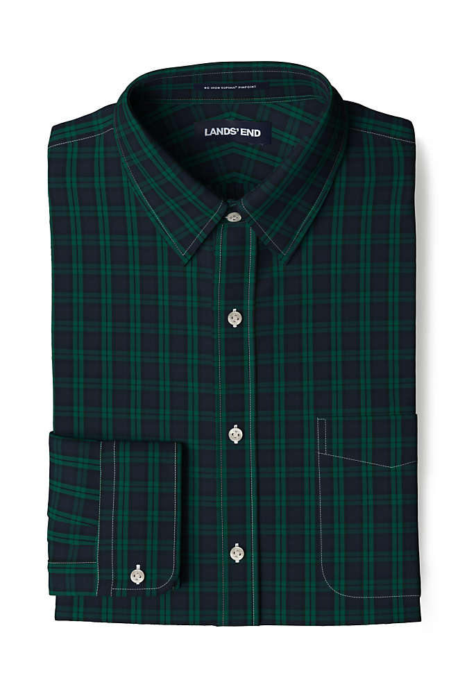 Men's Traditional Fit Pattern No Iron Supima Pinpoint Straight Collar Dress Shirt, Front