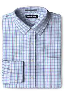 Men's Tailored Fit Pattern No Iron Supima Pinpoint Straight Collar Dress Shirt, Front