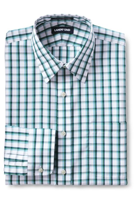 Men's Traditional Fit Pattern No Iron Supima Pinpoint Straight Collar Dress Shirt