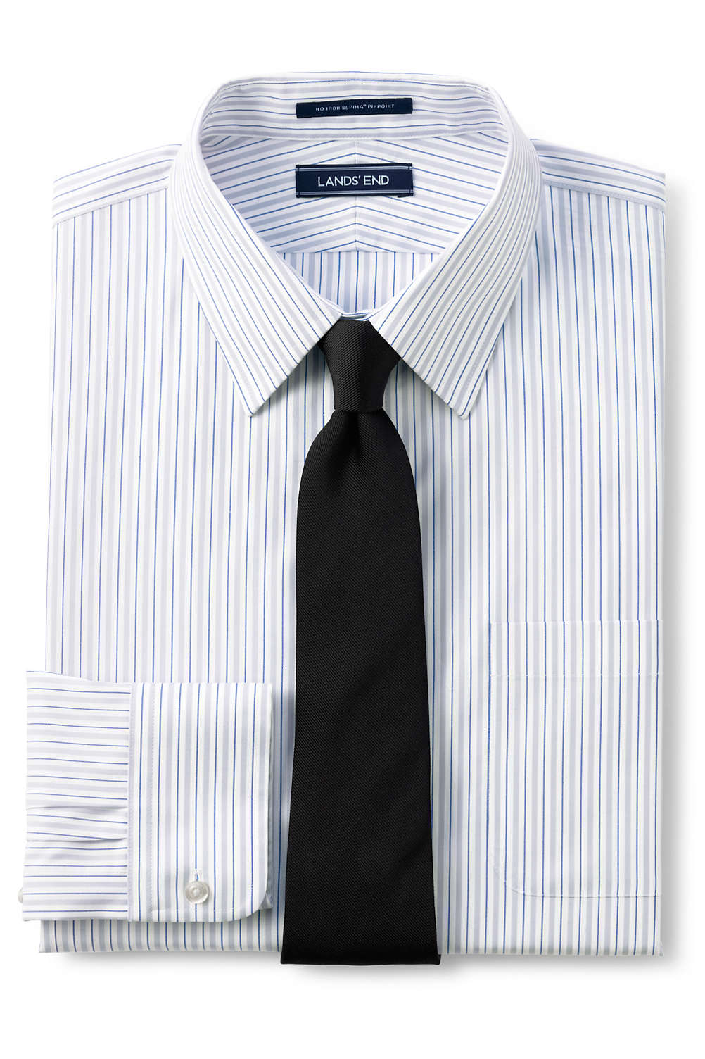 Mens Tailored Fit Pattern No Iron Supima Pinpoint Straight Collar