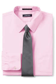 Men's Tailored Fit Solid No Iron Supima Pinpoint Straight Collar Dress Shirt