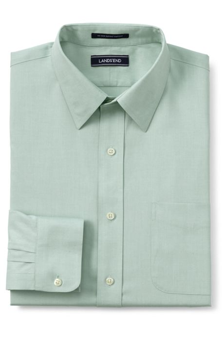 Men's Traditional Fit Solid No Iron Supima Pinpoint Straight Collar Dress Shirt