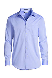 Men's Tailored Fit Solid No Iron Supima Pinpoint Straight Collar Dress Shirt, Front